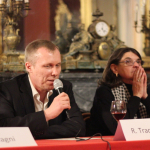 R. Tracevskis kalba per savo knygos pristatymą Sicilijoje