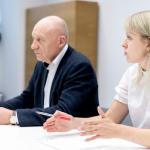 Nacionalinės bibliotekos generalinis direktorius prof. dr. Renaldas Gudauskas ir Komunikacijos ir rinkodaros departamento direktorė Viktorija Pukėnaitė-Pigagienė
