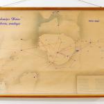 Salomėjos Nėries kelionių žemėlapis, 1945–1955. Rankraštinis brėžinys, spalvotas, 161 x 103 cm