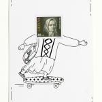 """Atvirlaiškis """"Filatelija – kitaip. Žemaitė riedlentininkė"""", dailininkė Juta Kibildytė, 2017. Popierius, spauda, 15 x 10,5 cm"""